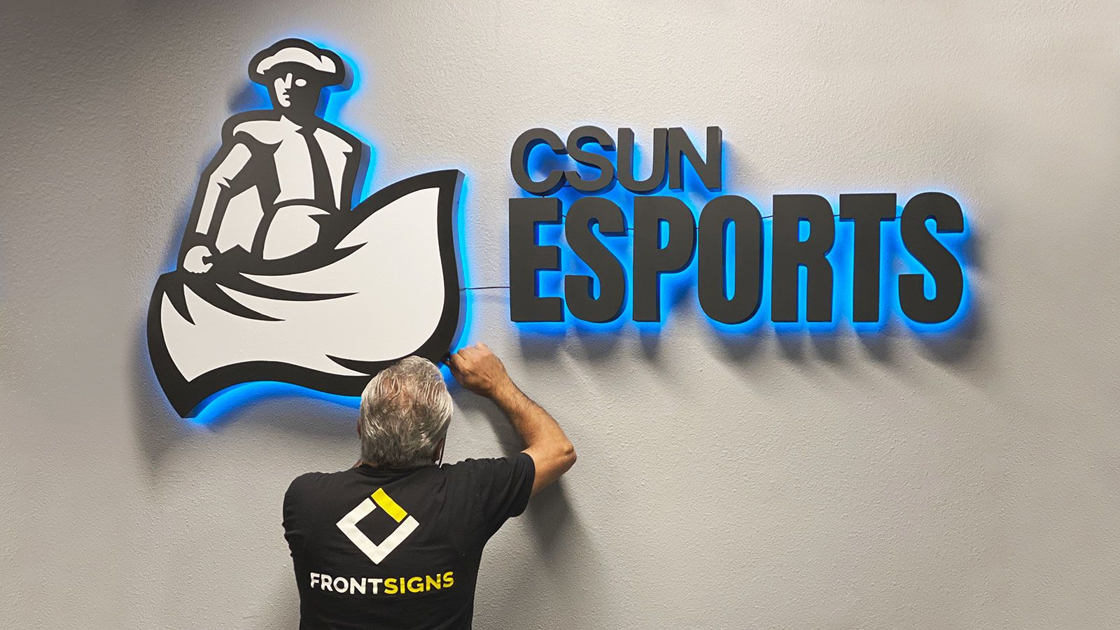 csun esports backlit sign installation