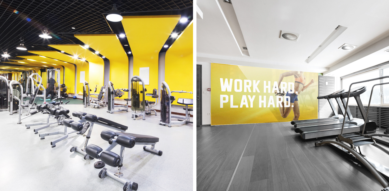 Decorative gym signs in yellow displayed at the exercise room