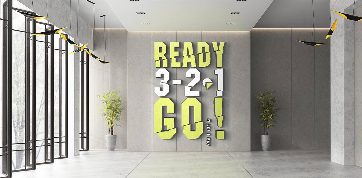 Fitness center design idea with a dimensional gym lobby sign