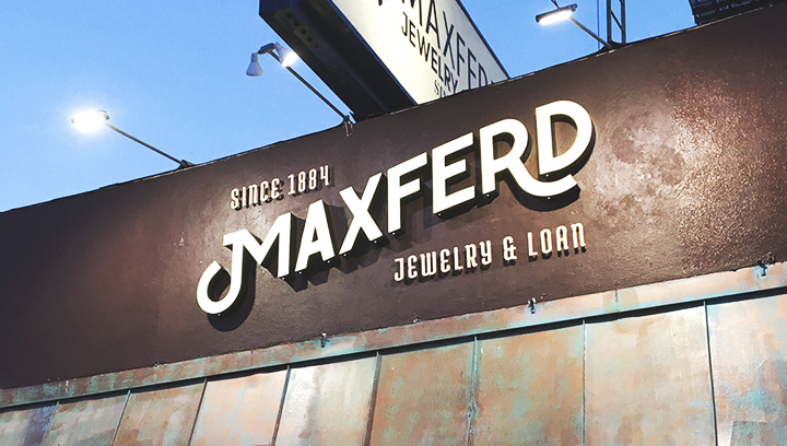 Maxferd outdoor sign with brand name channel letters made of aluminum and acrylic