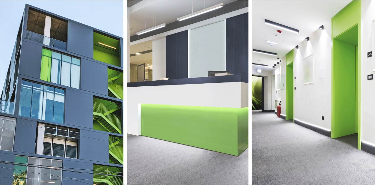 Full medical clinic design with light green highlights