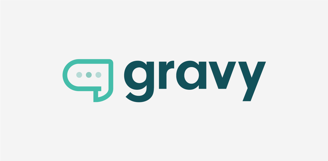 White/grey and teal/green logo colors of Gravy