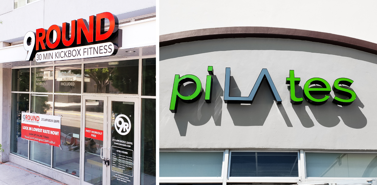 Gym building branding signs in bright colors