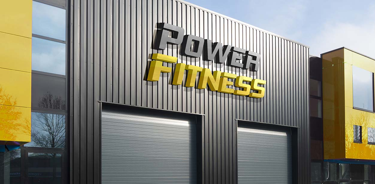 Gym exterior design idea in yellow and grey