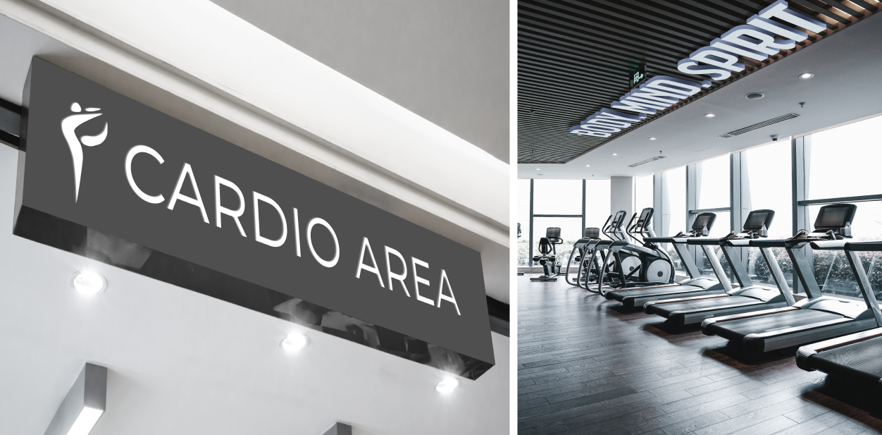 Gym ceiling signs in motivational and wayfinding styles