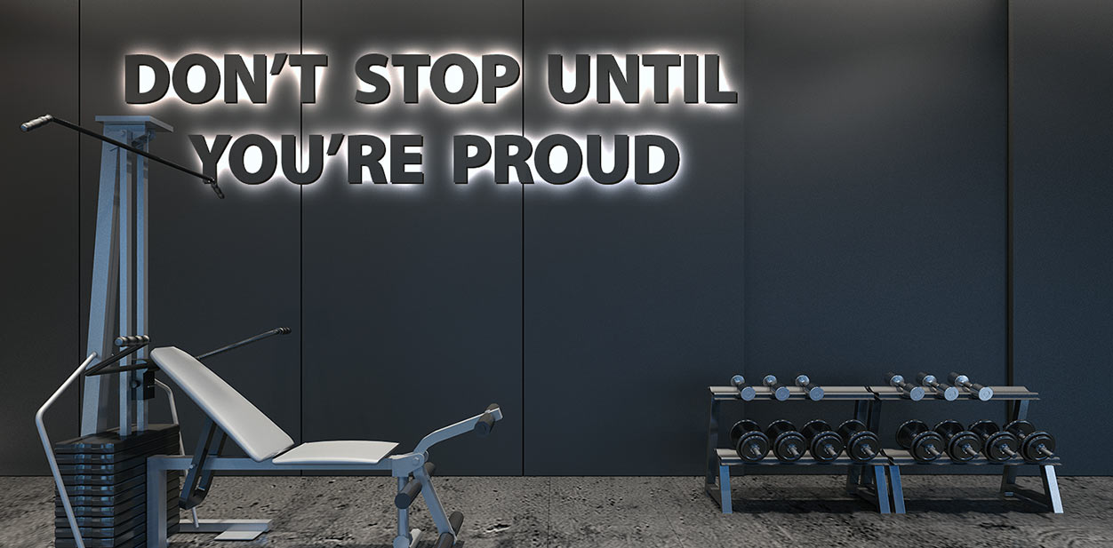 Gym interior design idea in a motivational style