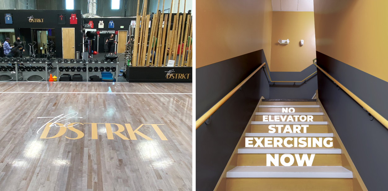 Gym floor signs in motivational and branding styles