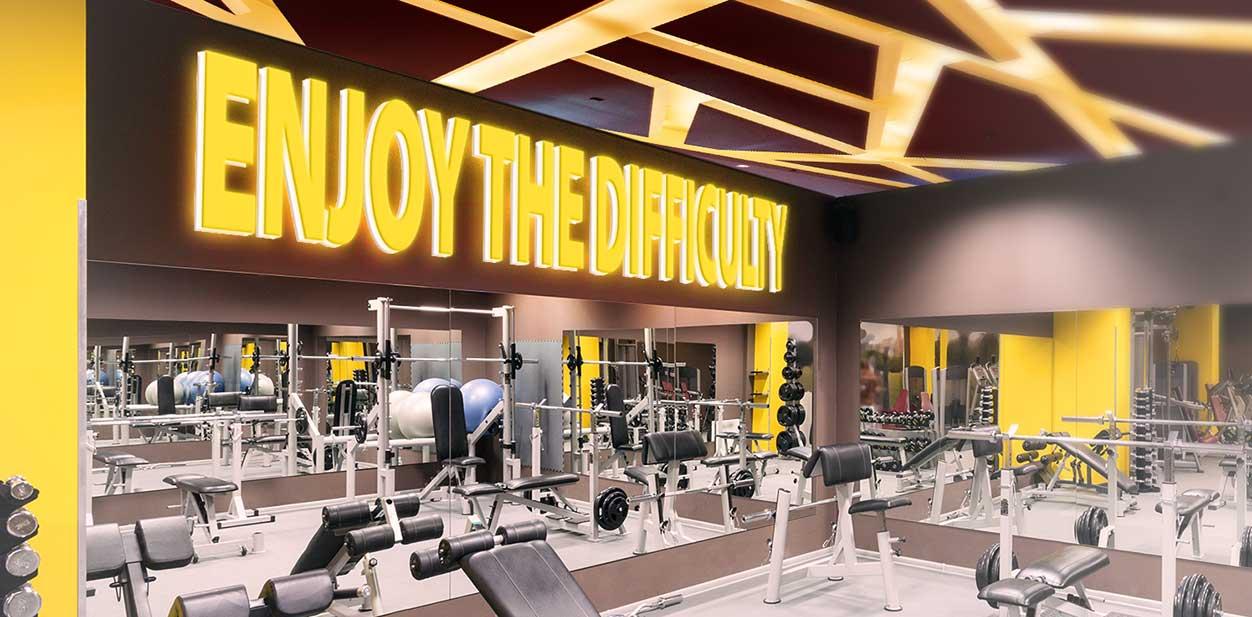 Illuminated gym design idea with yellow highlights