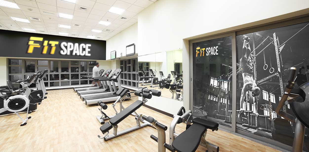 Gym interior branding in a bold style
