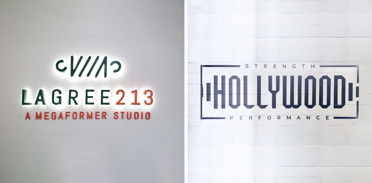 Gym interior branding signs with and without illumination