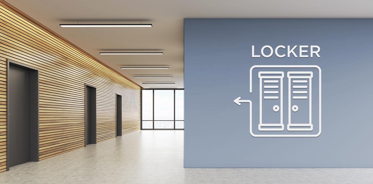 Gym lobby design idea with wayfinding graphics