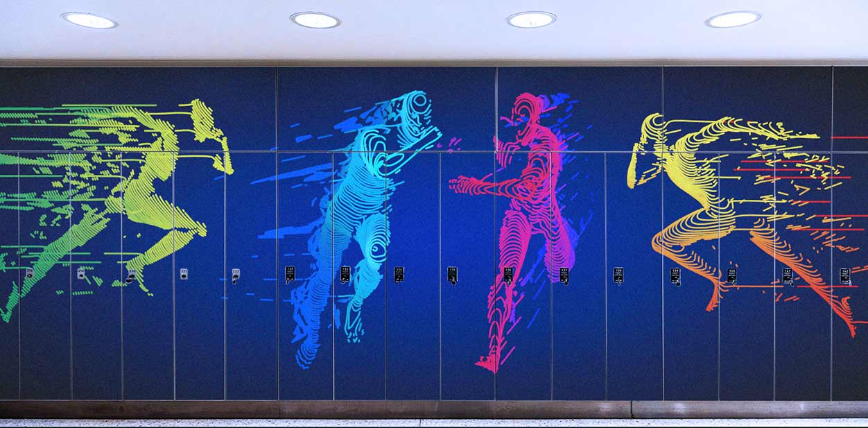 Gym locker design idea with colorful fitness graphics