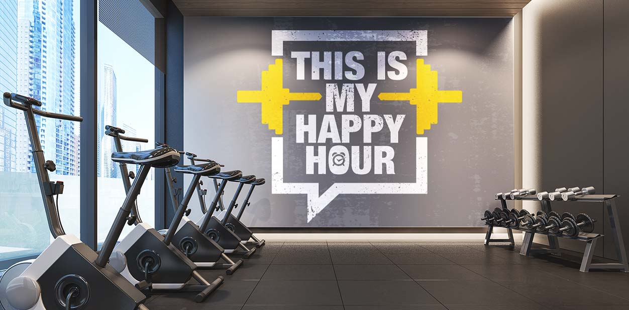 Gym interior design idea with a motivational wall art display