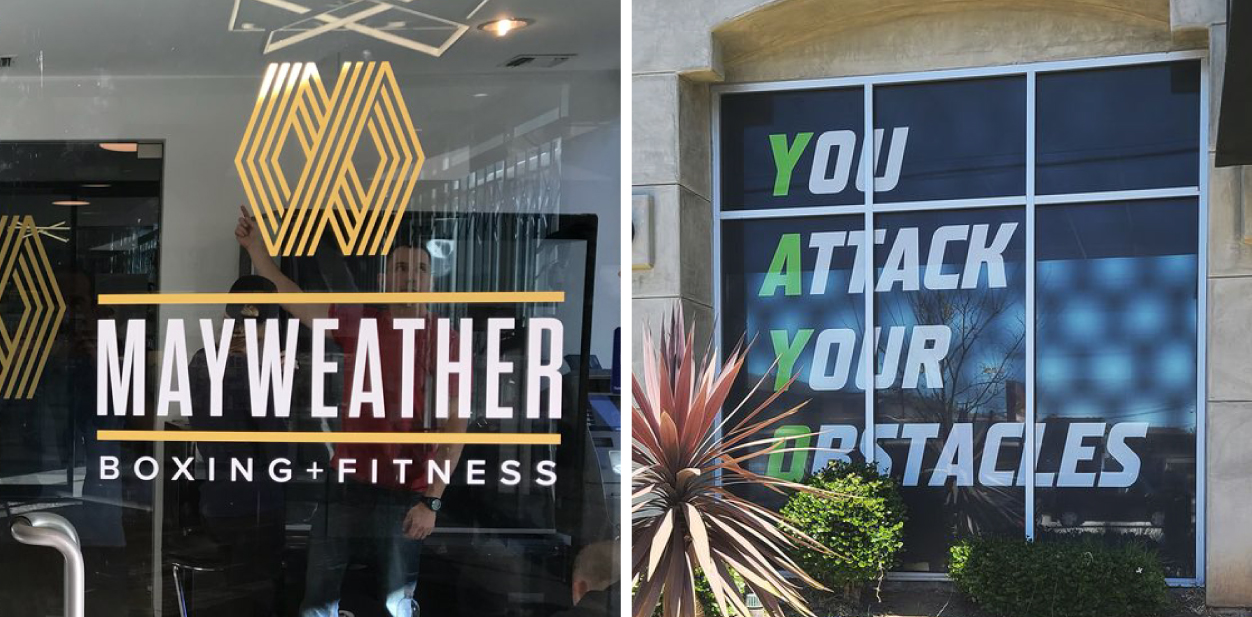 Gym window signs in motivational and branding styles
