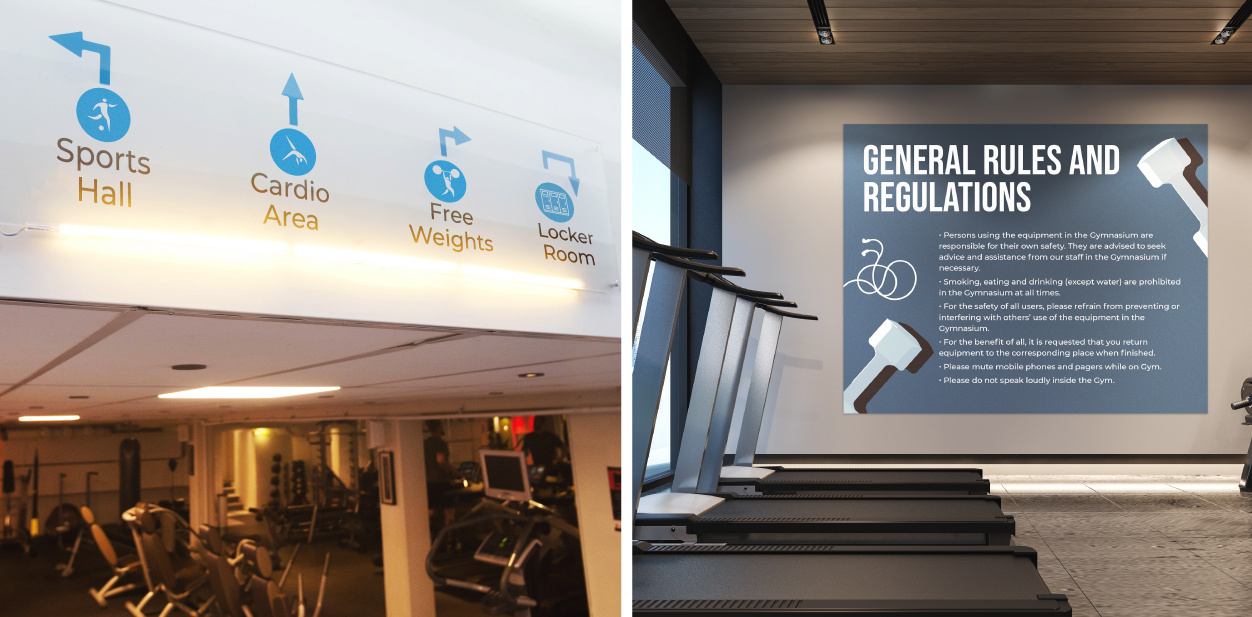 Informational and directional gym signs displayed at the exercise room