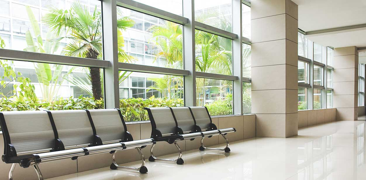 Medical office building design with large windows