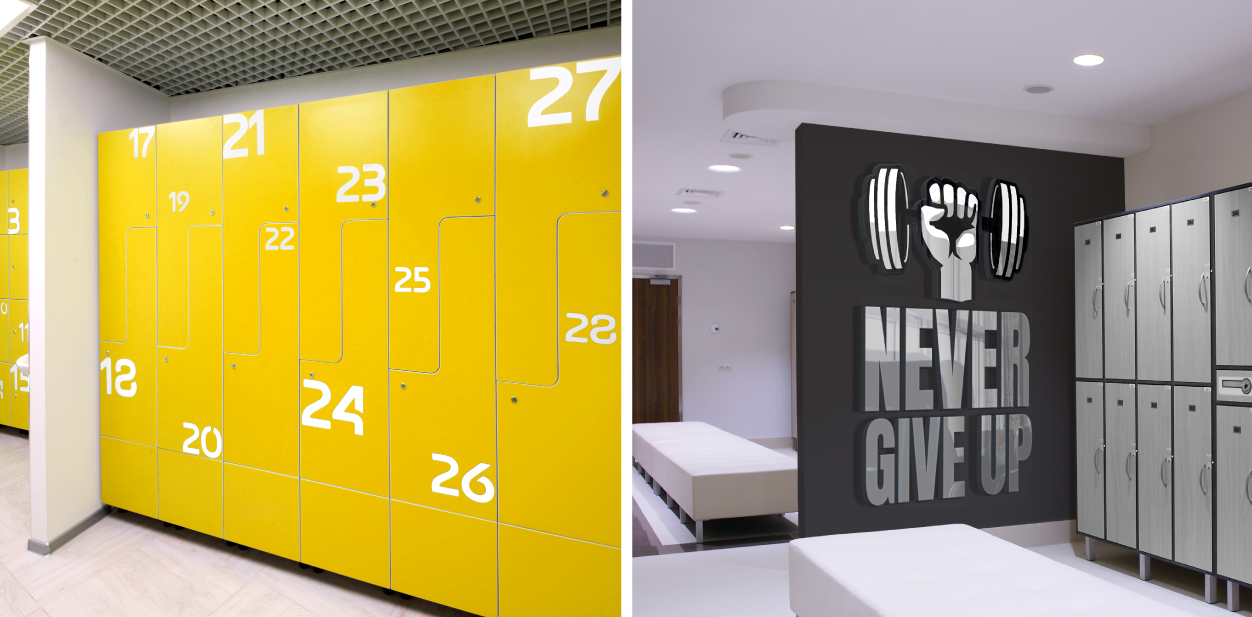 Gym locker room branding signs displayed on the lockers and next to it