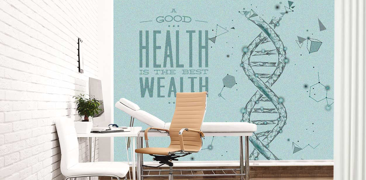 Medical clinic interior design idea with wall graphics