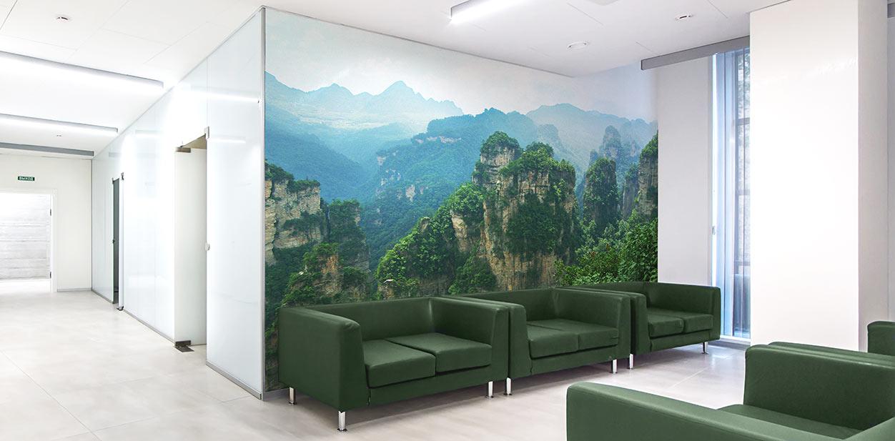 Nature-themed medical office breakroom design idea