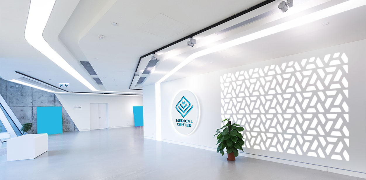 Illuminated medical office design idea with unique wall patterns
