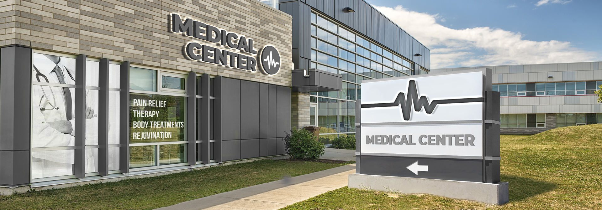 outdoor black and white medical office signs