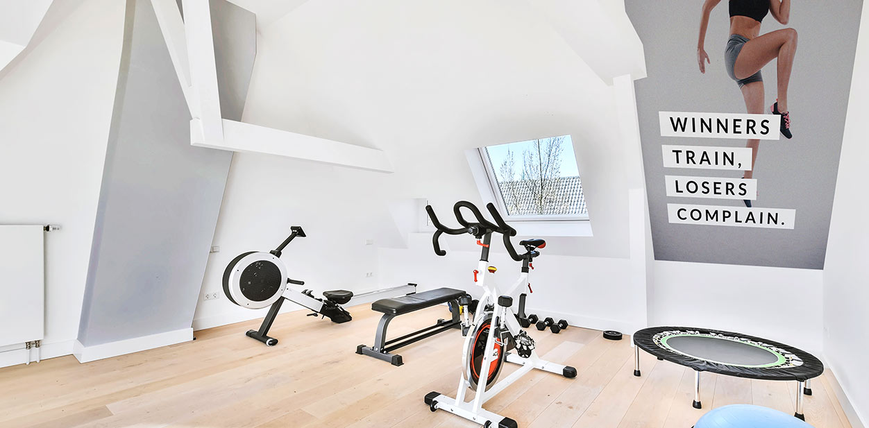 Minimalist gym design in white and grey