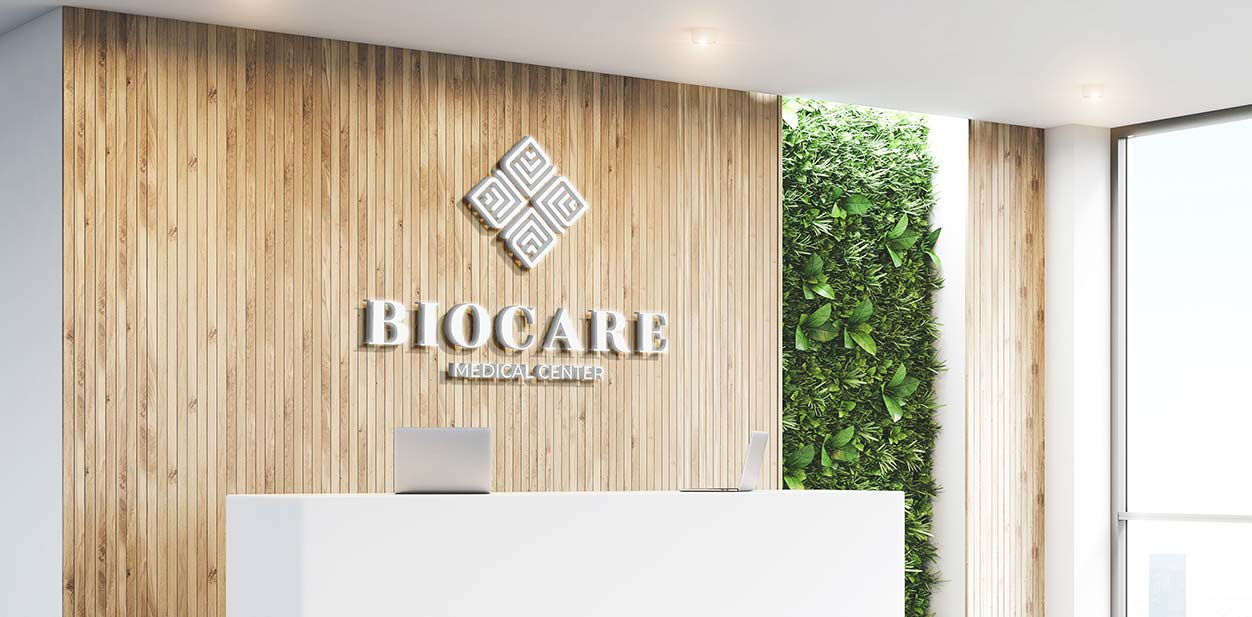 Modern medical clinic design with wooden and green decor elements