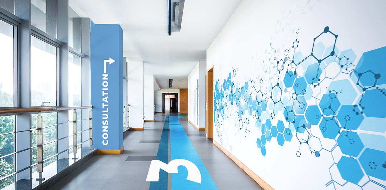 Modern medical office interior design with wayfinding graphics