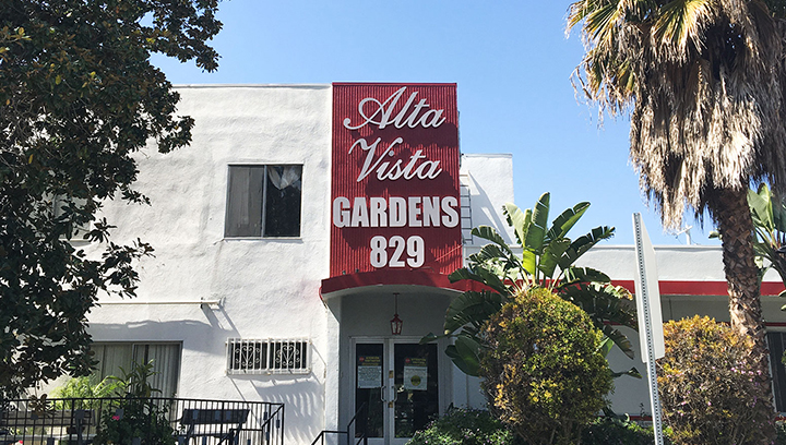 Alta Vista Gardens plastic outdoor sign in a big size with brand name 3d letters made of PVC