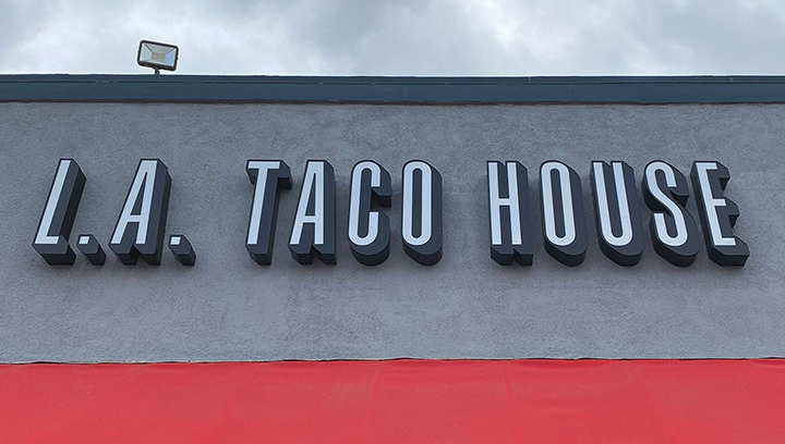 L.A. Taco House outdoor sign with large channel letters made of acrylic and aluminum