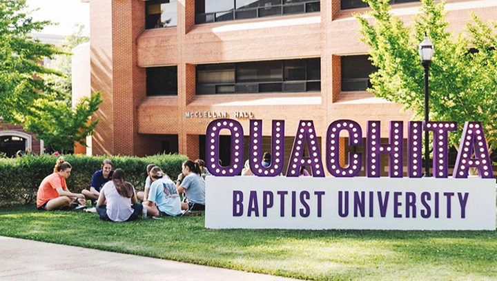 Ouachita Baptist University outdoor sign letters in marquee style made of aluminum and acrylic