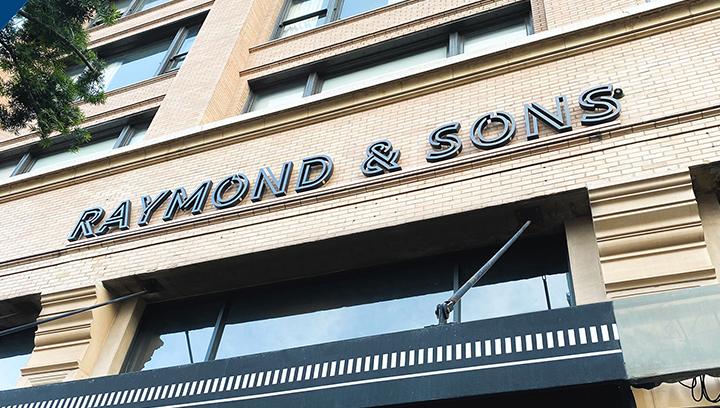 Raymond & Sons large outdoor sign made of aluminum for restaurant branding
