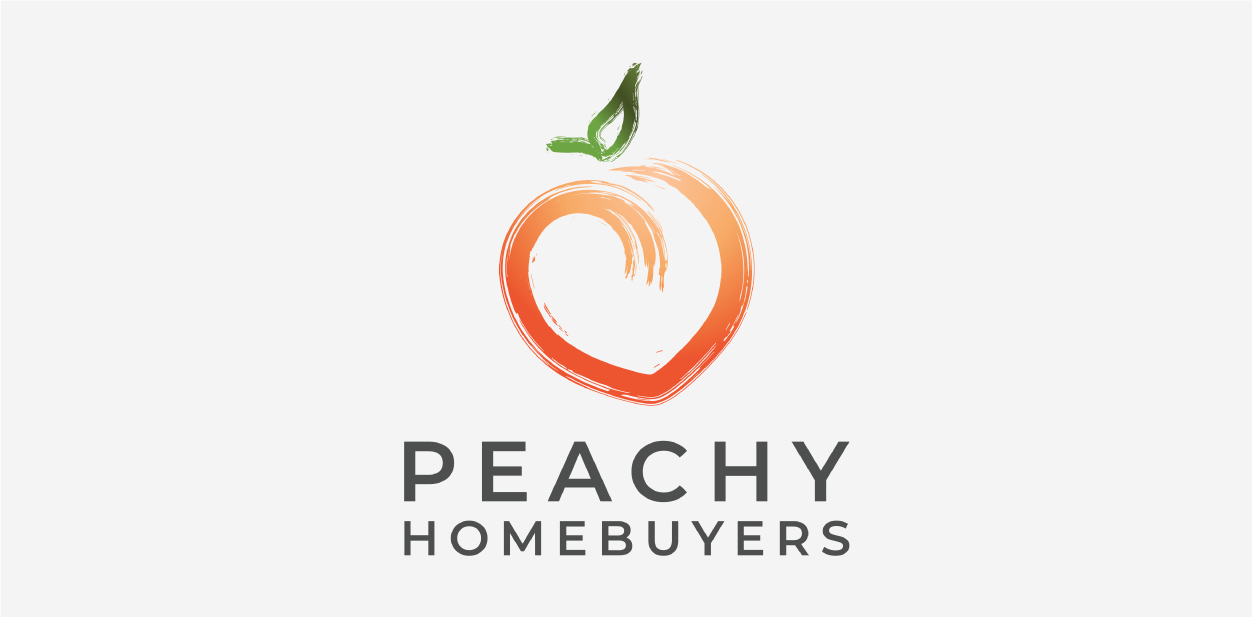 Orange and green logo colors of Peachy Home Buyers LLC