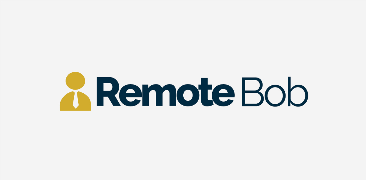 Yellow, navy blue and white logo colors of Remote Bob UK