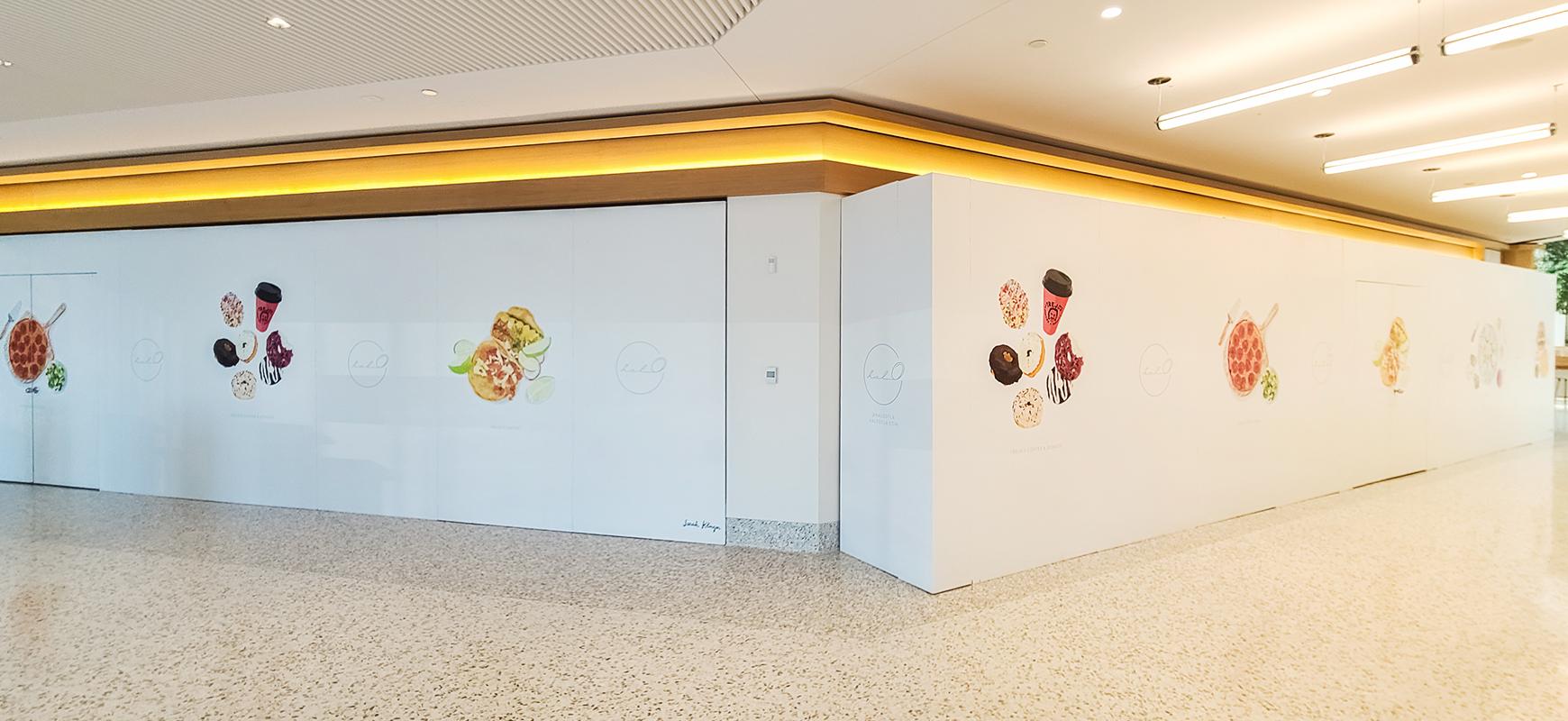 Halo Restaurant environmental graphics made of opaque vinyl for interior wall decor