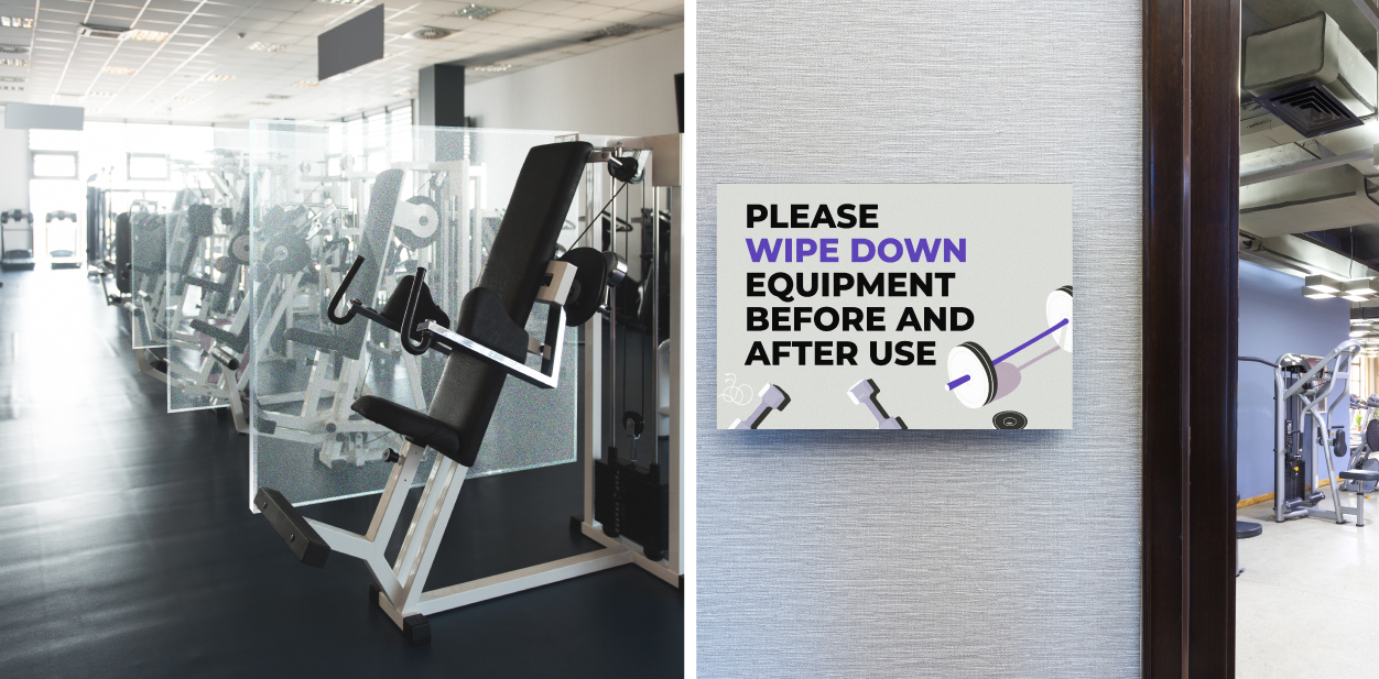 Safety gym signs displayed at the exercise room