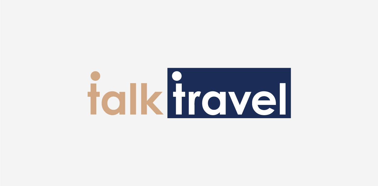 Orange and blue logo colors of Talk Travel