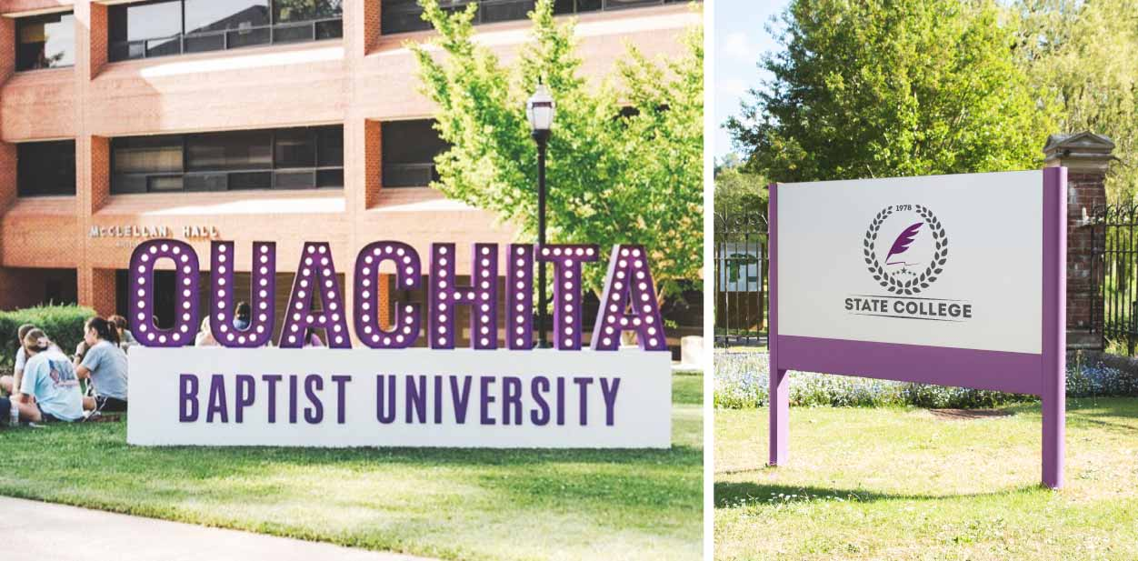 Above-ground college signs