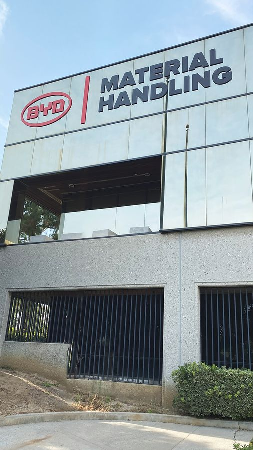 BYD corporate building sign