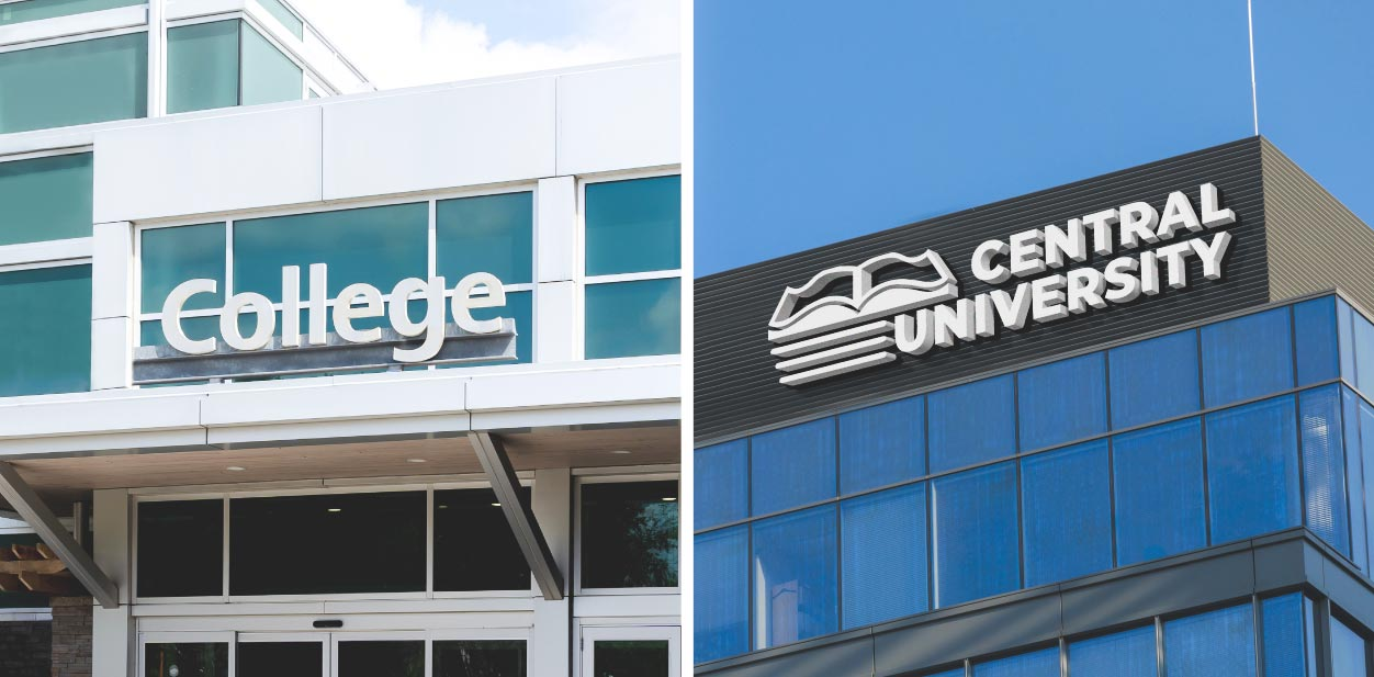 Front-façade college signs