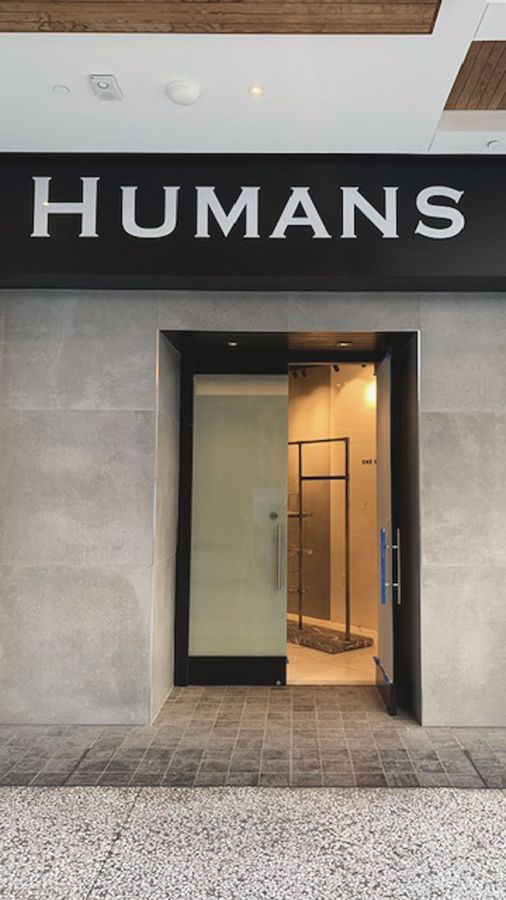 Humans storefront 3D letters