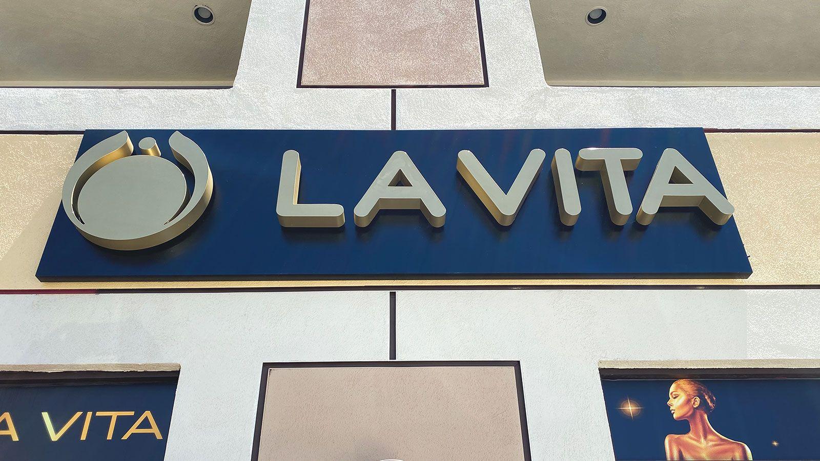 La Vita reverse channel letters
