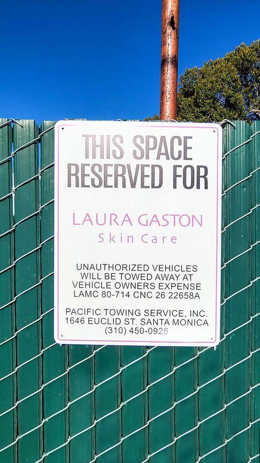 Laura gaston aluminum parking sign