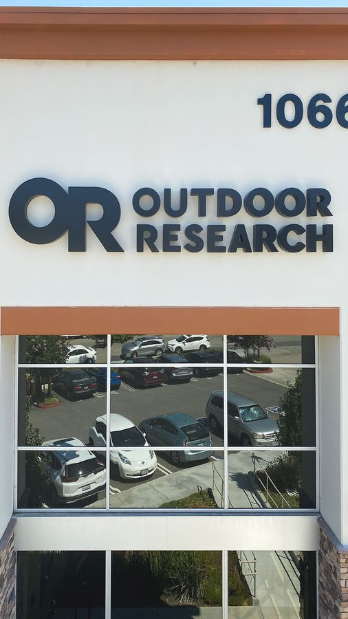 Outdoor research building sign
