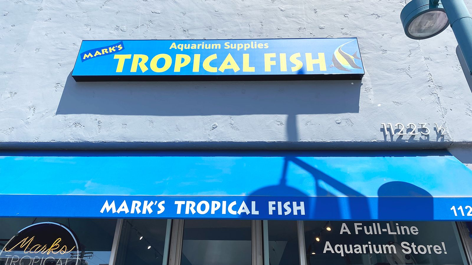 Tropical fish building sign