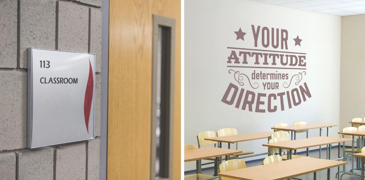 University classroom signage