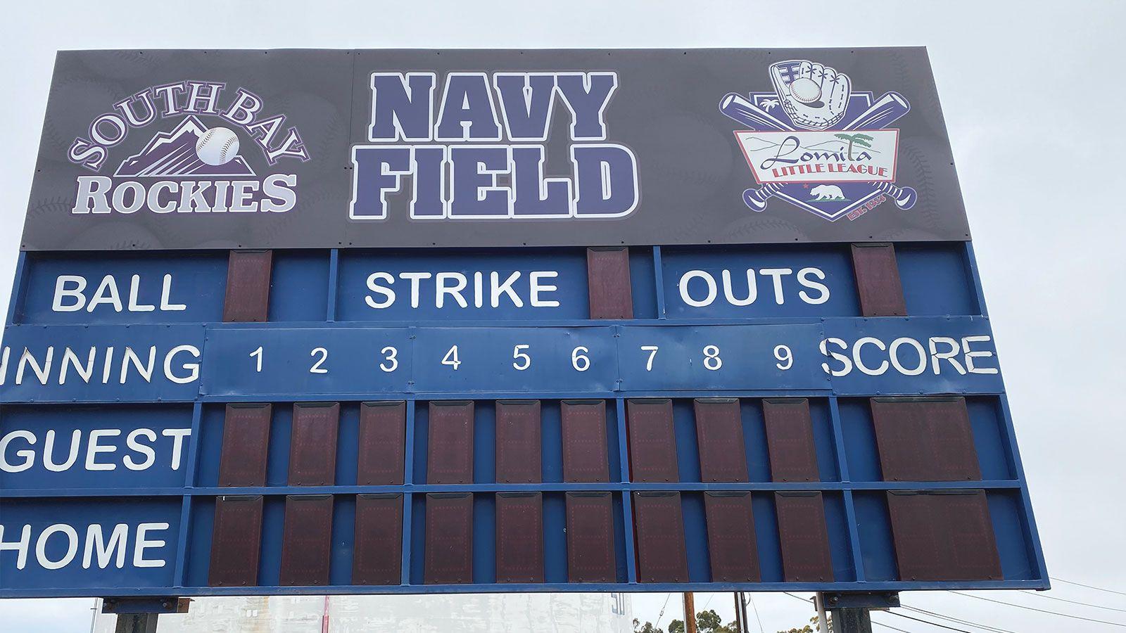 baseball scoreboard sign