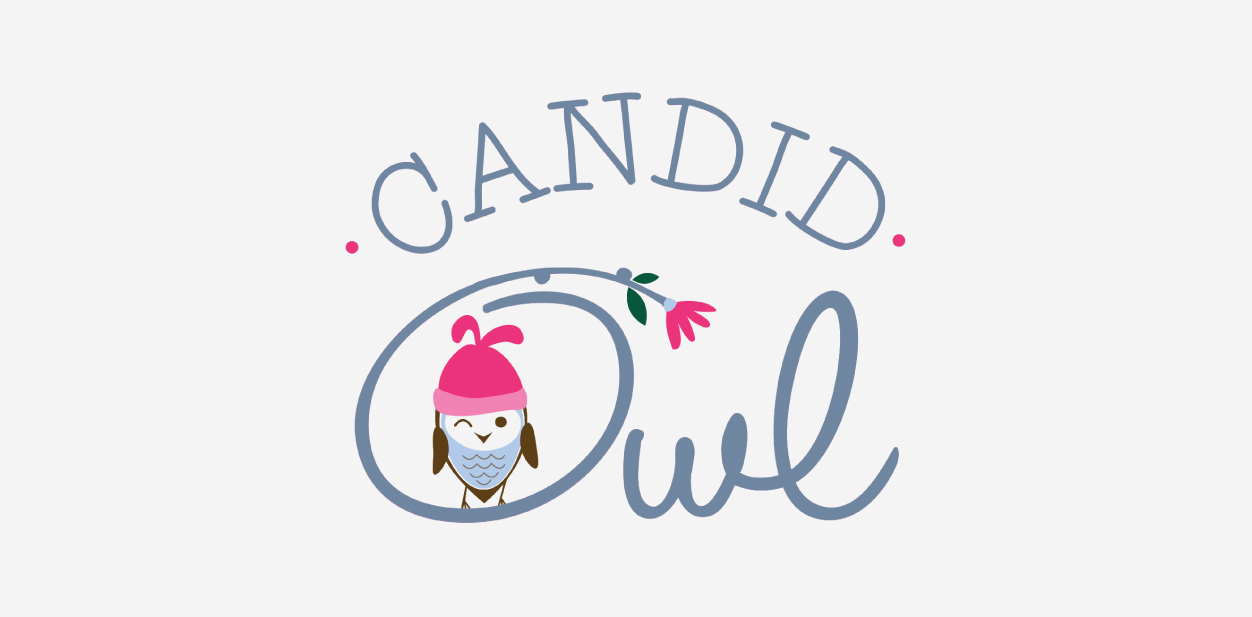 Candid Owl logo in an oval shape with lettering