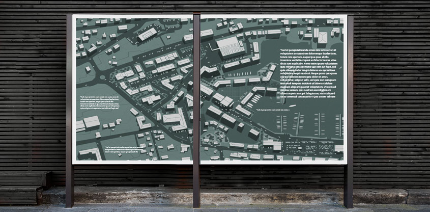 City environmental wayfinding solution displaying the city map