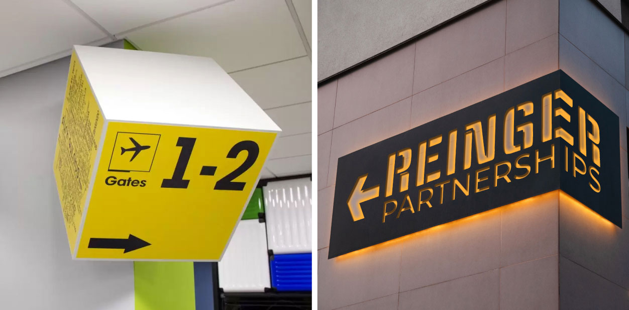 Custom directional placemaking signage examples for interior spaces